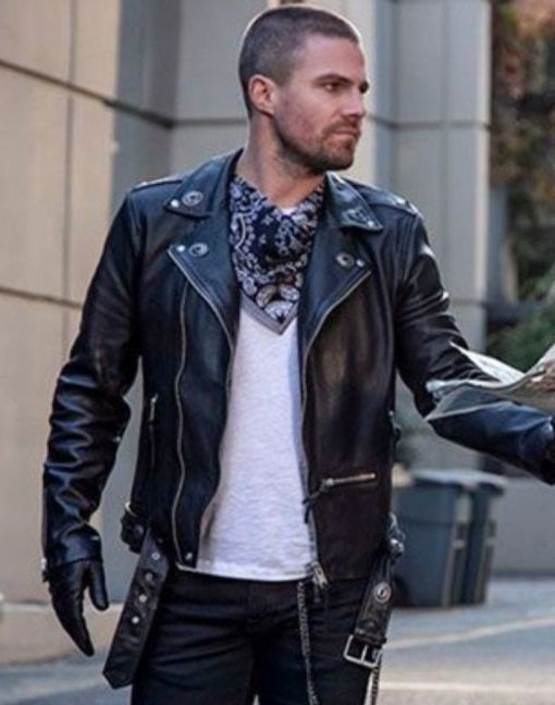 Arrow Oliver Queen Black Motorcycle Jacket