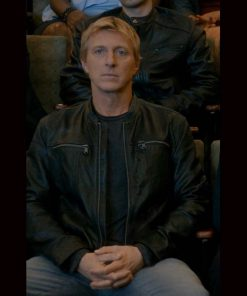 William Zabka Cobra Kai S03 Johnny Lawrence Black Leather Jacket