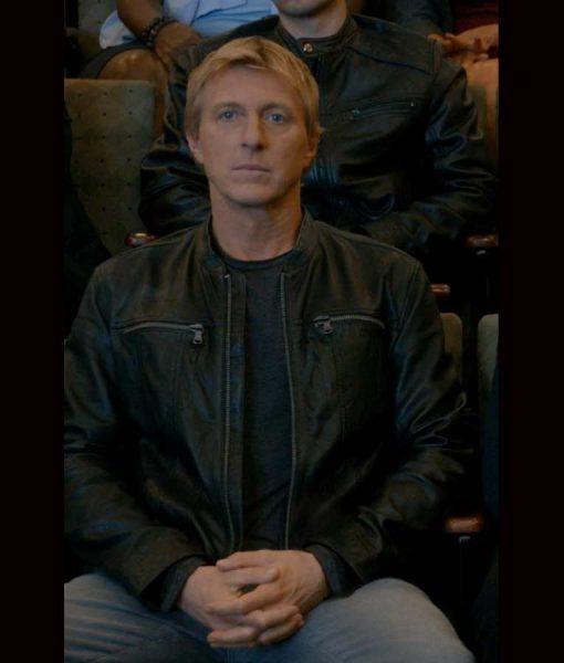 William Zabka Cobra Kai S03 Johnny Lawrence Black Leather Jacket