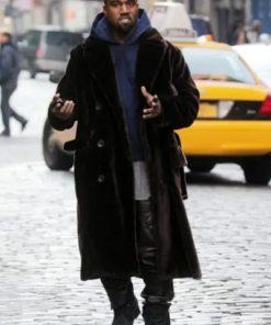 Kanye West Brown Coat | Long Velvet Kanye West Coat