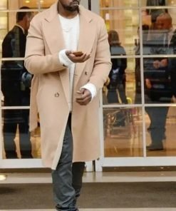 Street Style Kanye West Double Breasted Trench Wool-belnd Coat