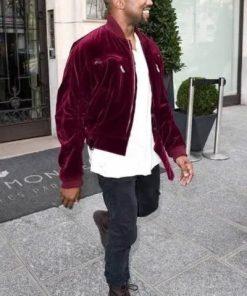 Kanye-West-Velvet-Maroon-Jacket