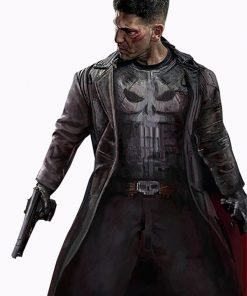 Jon Bernthal The Punisher Black Leather Trench Coat