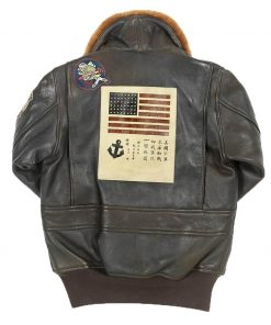 G-1 Top Gun Flight Bomber Leather Jacket with Patches