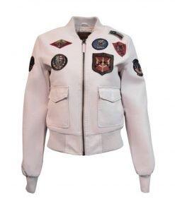 Women's Light Pink Top Gun Vegan Leather Jacket