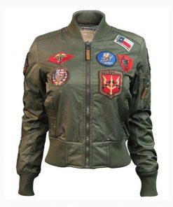 Women's Top Gun MA-1 Olive Bomber Jacket