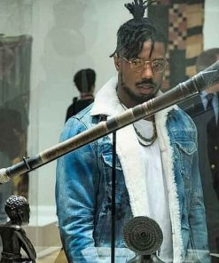 Blue Shearling Black Panther Erik Killmonger Denim Jacket