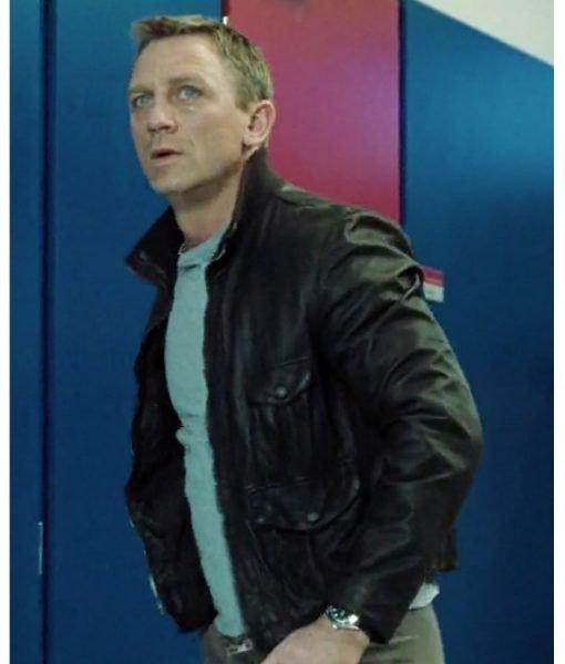 James Bond Casino Royale Daniel Craig Brown Leather Jacket