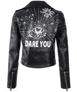 Eye Dare You Black Synthetic Biker Leather Jacket