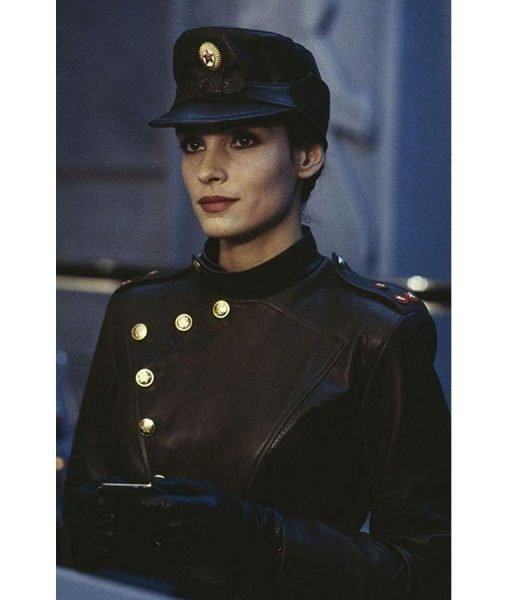Famke Janssen GoldenEye Xenia Onatopp Military Uniform Leather Jacket