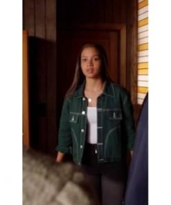 Corinne Massiah TV Series 9-1-1 May Grant Green Denim Jacket
