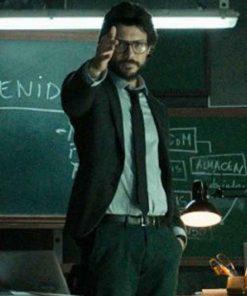TV Series Money Heist Álvaro Morte El Profesor Black Wool Blazer