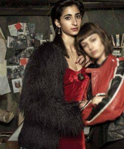 Alba Flores Money Heist TV Series Nairobi Black Fur Jacket