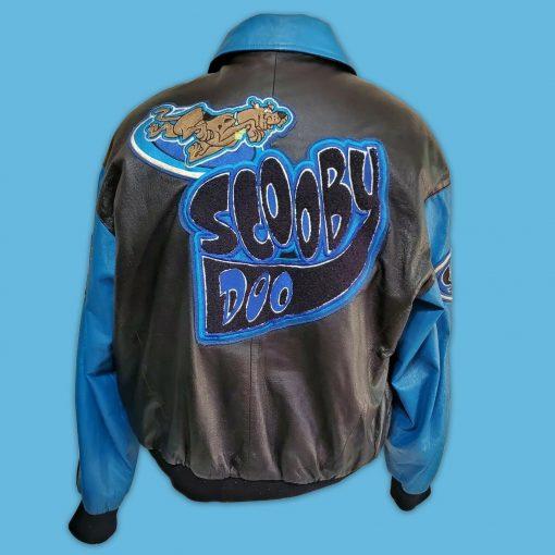 Cartoon Scooby Doo Black-Blue Bomber Leather Jacket