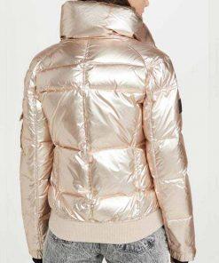 Spinning Out TV Series Amanda Zhou Jenn Yu White Gold Puffer Quilted Jacket
