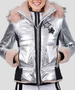 Sarah Wright Spinning Out Mandy Davis Silver Puffer Jacket With Hood
