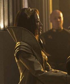 Michelle Yeoh Star Trek Discovery Emperor Georgiou Silk Sequin Long Coat