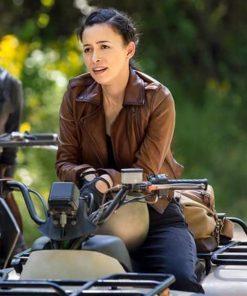 Christian Serratos The Walking Dead Season 9 Brown Leather Jacket
