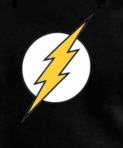 Black Pullover The Flash Logo Cotton Hoodie for Sale