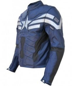 Chris Evans Captain America The Winter Soldier Blue Leather Jacket