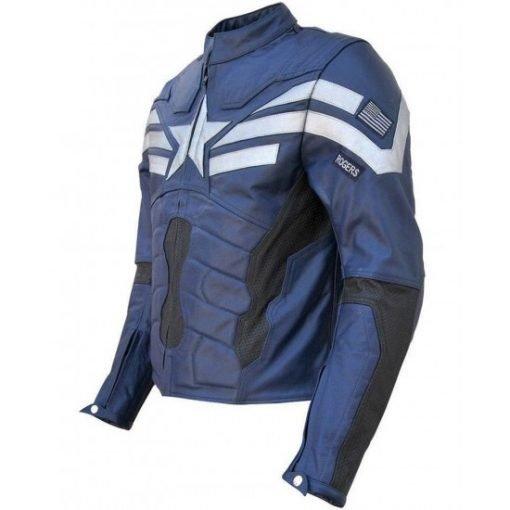 Chris Evans Captain America The Winter Soldier Blue Leather Jacket