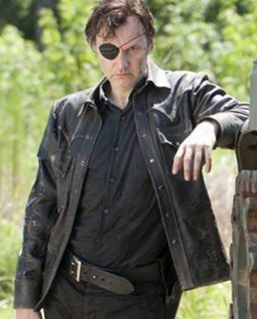 David Morrissey The Walking Dead Governor Black Leather Jacket