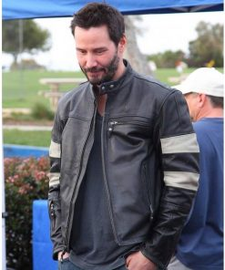Keanu Reeves John Wick 2 Slim Fit Cafe Racer Black Leather Jacket