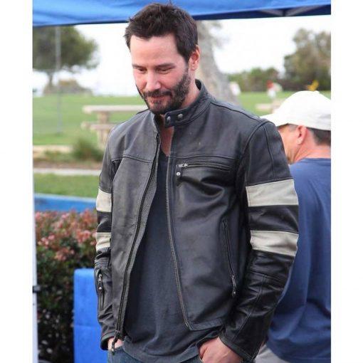 Keanu Reeves John Wick 2 Slim Fit Cafe Racer Black Leather Jacket
