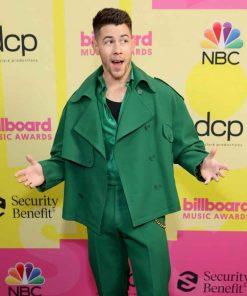Billboard Music Awards 2021 Nick Jonas Green Peacoat