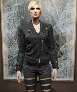 Grand Theft Auto 6 Female Protagonist Black Biker Quilted Leather Jacket