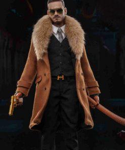 Gangsters Kingdom Spade David Brown Fur Trench Wool Coat