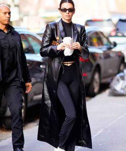 Black Leather Kendall Jenner Coat for Womens