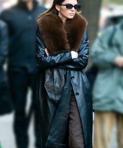 New York Street Kendall Jenner Black Leather Fur Collar Coat