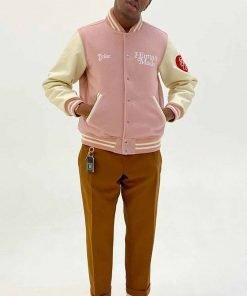 Pink and White I Know Nigo Varsity Jacket