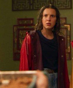 Millie Bobby Brown TV Series Stranger Things S04 Eleven Red Hooded Coat