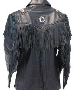 Black Fringe Tribal Bead Leather Jacket