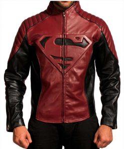 Superman Black and Maroon Leather Jacket