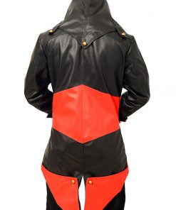 Assassins Creed Black And Red Hooded Leather Jacket