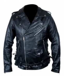 Fallout 4 Atom Cat Black Motorcycle Leather Jacket For Sale