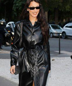 Black Leather Bella Hadid Coat