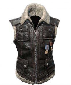 Brown Shearling Playerunknown's Battleground Leather Vest