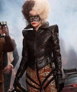 Emma Stone Cruella de Vil Black Leather Jacket