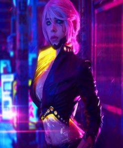 Ciri Cyberpunk 2077 Cropped Black Leather Jacket