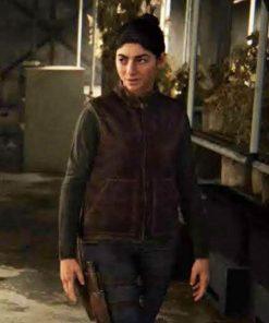 Dina The Last Of Us Part II Maroon Leather Vest