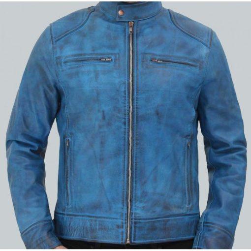 Dodge Cafe Racer Sky Blue Leather Jacket for Men's