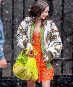Emily Cooper Emily In Paris Season 2 Satin Bomber Jacket
