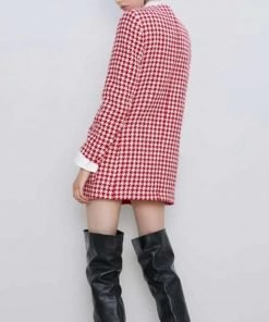 Emily Copper Emily In Paris Double-Breasted Houndstooth Coat