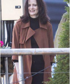 French Actress Eva Green Long Brown Cotton Coat