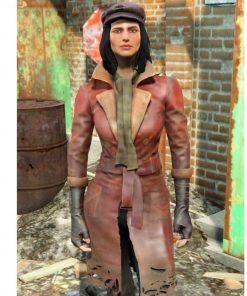 The Piper Fallout 4 Game Red Leather Belted Coat