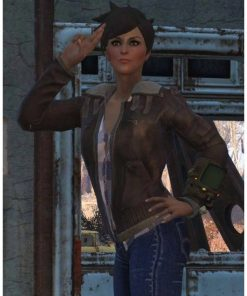 Fallout 76 Tracer Brown Shearling Leather Jacket